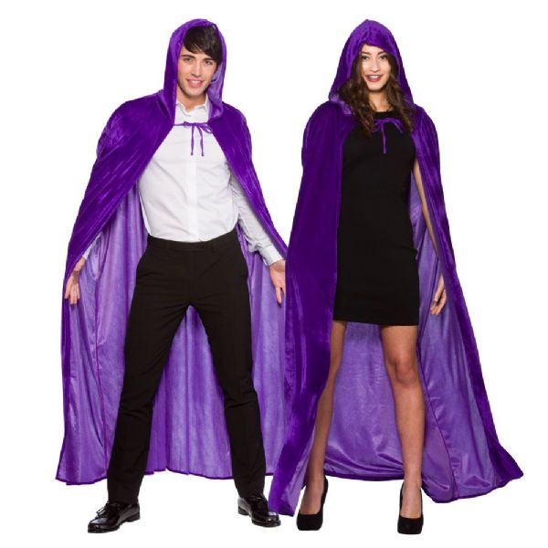 Adult Velvet Hooded Cape - Purple